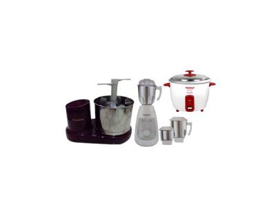 Grihalakshmi Table Top Grinder + Maharaja Whiteline Joy Max Mixer + Maharaja Whiteline Inicio Duo Electric Rice Cooker - Combo Offer