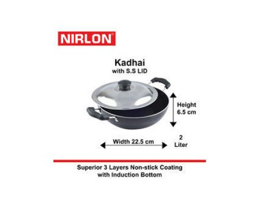 Nirlon Induction Kadai With Steel Lid 1.5L