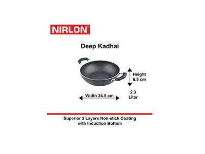 Nirlon Induction Deep Kadai without Lid 2.3Ltr