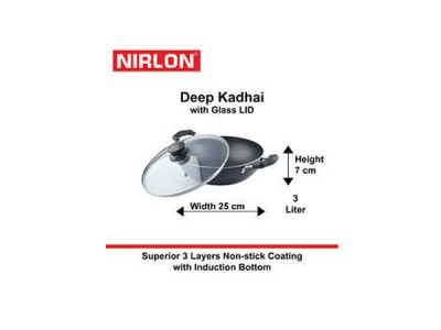 Nirlon Induction Deep Kadai With Glass Lid 3Ltr