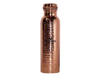 Peacocks Copper Flow Watter Bottle Hammered 1000ml