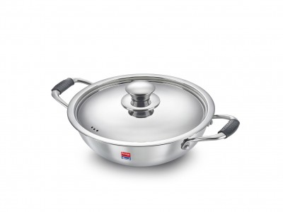 Prestige Tri Ply Kadai with lid 220 mm