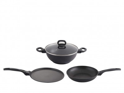 Prestige Omega Die Cast Plus Induction Base Non-Stick Cookware Set, 3-Pieces