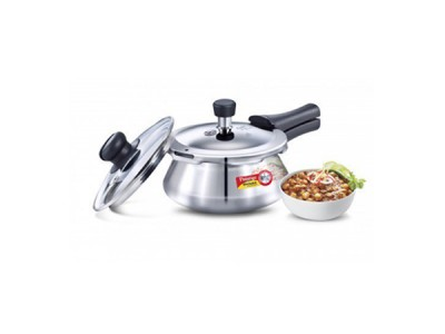 Prestige Deluxe Alpha Pressure Handi 1.5 Litre Stainless Steel With Glass Lid