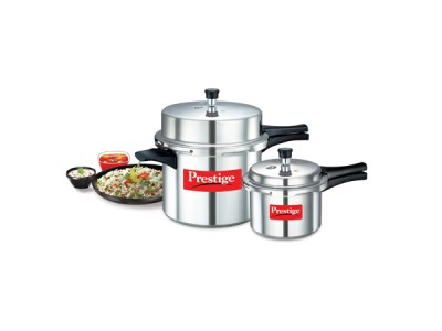 Prestige Popular Double Value Pack Aluminium Pressure cookers 12 L + 3 L