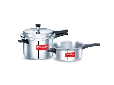 Prestige popular Special combi pack 5 Litre & 3 Litre  Aluminium Pressure Cooker