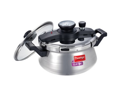 Prestige Clip-On Induction Base Stainless Steel Handi Pressure Cooker with Glass Lid, 3 litres Silver