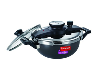 Prestige Clip-On Induction Base Hard Anodized Aluminum Kadai Pressure Cooker Set, 3.5 litres