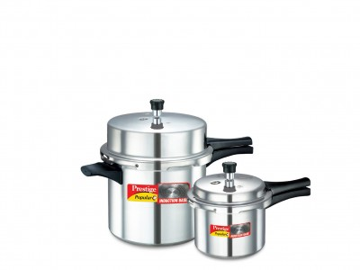 Prestige Popular Plus Double Value Pack Induction Base Aluminium Pressure cookers 10 L + 3 L