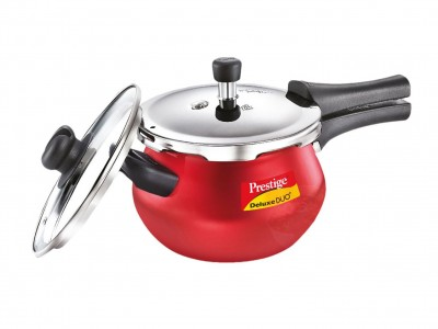 Prestige Deluxe Plus Duo Induction Base Pressure Handi with Lid - Silky Red -1.5 Litre