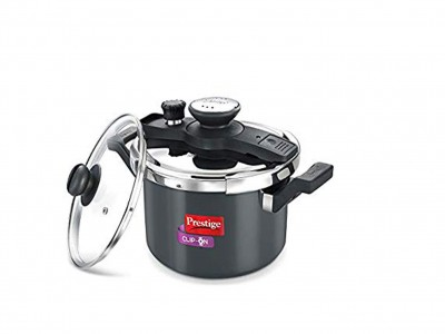 Prestige Clip-On Induction Base Hard Anodized Aluminium Pressure Cooker with Glass Lid, 5 litres