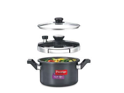 Prestige Clip-On Induction Base Hard Anodized Aluminium Pressure Cooker with Glass Lid, 3 litres