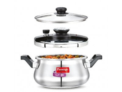 Prestige Clip-On Induction Base Stainless Steel Handi Pressure Cooker with Glass Lid, 5 litres Silver