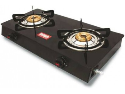 Rallison Grand 2 Burner Glass Top (Black) Gas Stove