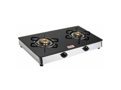 Rallison Deo 2 Burner Glass Top (Steel) Gas Stove