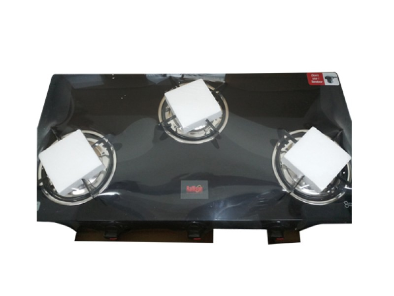Rallison Grand 3 Burner Glass Top (Black) Gas Stove