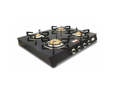 Rallison Quadra 4 Burner Glass Top (Black) Gas Stove