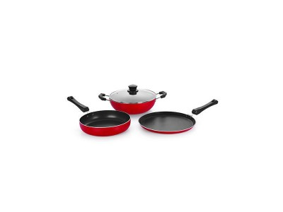 Nirlon Silver Gift Set Non - Stick Cookware Set With Glass Lid (3pcs)